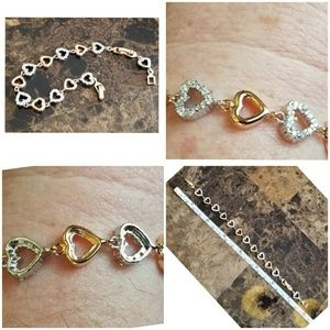 Jewelry - 14k Yellow and White Gold Filled Hearts Bracelet